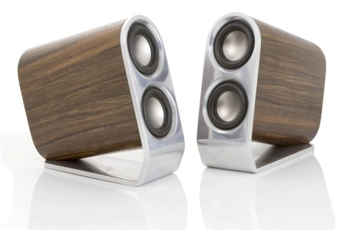 Aluminium and Walnut Desktop Speakers